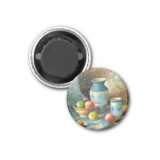 Painting Of Fruit And Pottery Vessels Magnets