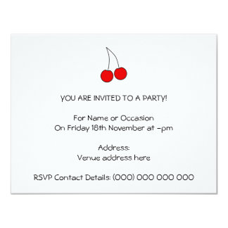 Pair of Cherries. Black, Red and White. 11 Cm X 14 Cm Invitation Card