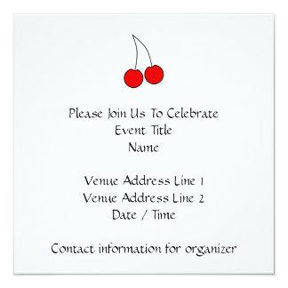 Pair of Cherries. Black, Red and White. Custom Invitation
