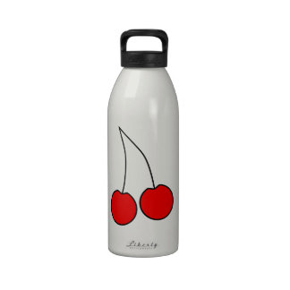 Pair of Cherries. Black, Red and White. Drinking Bottles
