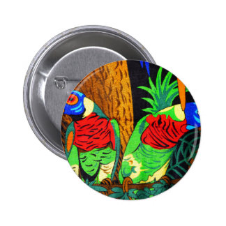 Pair of Colorful Parakeets 6 Cm Round Badge