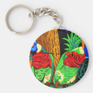 Pair of Colorful Parakeets Basic Round Button Key Ring