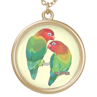 "pair of fischer""s lovebirds gold plated necklace"