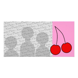 Pair of Red Cherries. Black Outline. Photo Greeting Card