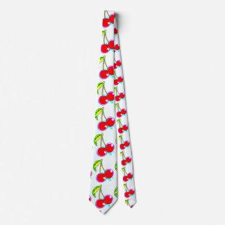 paired red cherries white tie