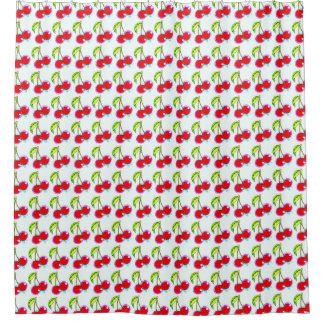 pairs of red cherries pattern shower curtain