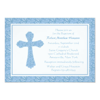 Paisley Blue Religious Invitation