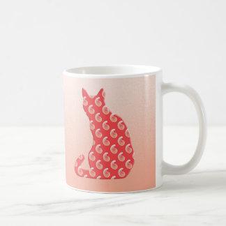 Paisley Cat - shades of coral orange Basic White Mug