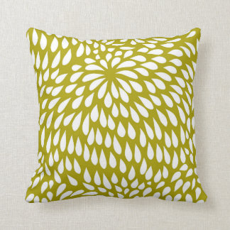 Paisley Flower in Chartreuse Green and White Cushion