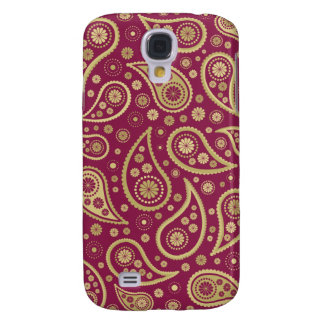 Paisley Funky Print in Burgundy & Golds Galaxy S4 Case