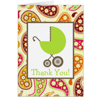 Paisley & Green Carriage Baby Shower Thank You Greeting Card