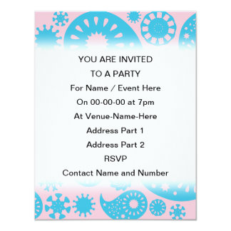Paisley Pattern in Pink and Turquoise Blue. 11 Cm X 14 Cm Invitation Card