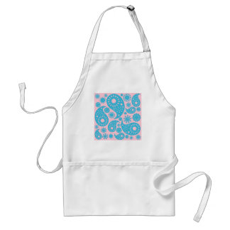 Paisley Pattern in Pink and Turquoise Blue. Adult Apron