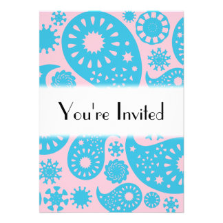 Paisley Pattern in Pink and Turquoise Blue. Personalized Invitations