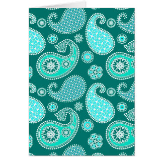 Paisley pattern, Turquoise, Aqua and White Card