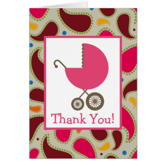 Paisley & Pink Carriage Baby Shower Thank You Greeting Cards
