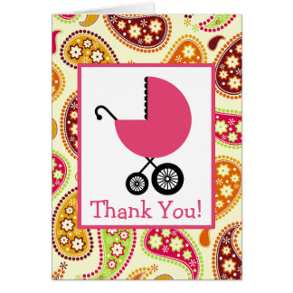 Paisley & Pink Carriage Baby Shower Thank You Greeting Card