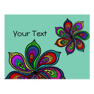 Paisley Pinwheel of Colors Postcard