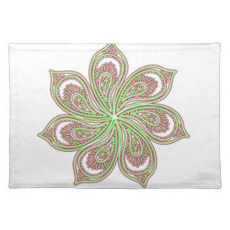 Paisley Pinwheel Pink Green Placemat