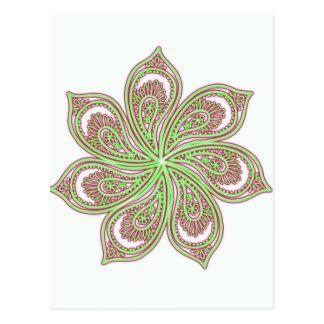 Paisley Pinwheel Pink Green Postcard