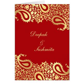 Paisleys Elegant Indian Wedding Folded Invitation Cards