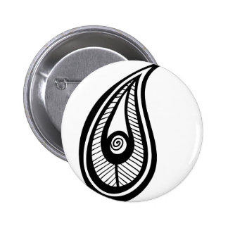 Paisly Teardrop Illustration Silhouette Feather Pinback Button