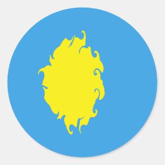 Palau Gnarly Flag Round Sticker