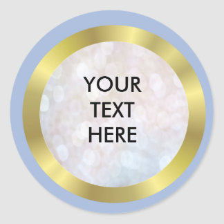 Pale Blue, Gold and Pearl Round Sticker