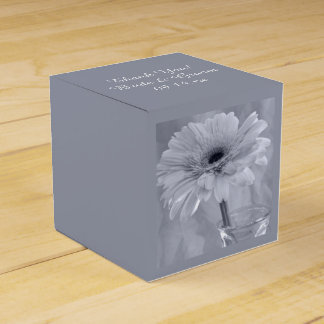 Pale Blue Tinted Daisy Wedding Favour Box