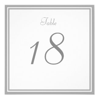 Pale Gray Wedding Table Number Card
