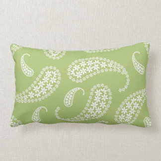 Pale green and white paisley lumbar pillow