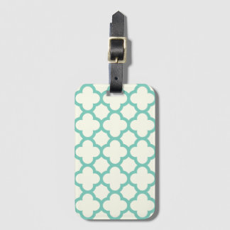 Pale Green Quatrefoil Pattern Baggage Labels Luggage Tag