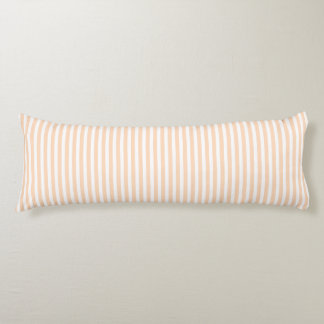 Pale Peach Angelskin Coral & White Stripe Body Cushion