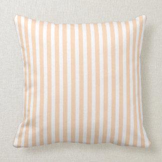 Pale Peach Angelskin Coral & White Stripe Cushion