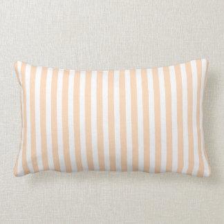 Pale Peach Angelskin Coral & White Stripe Lumbar Cushion