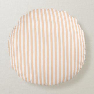 Pale Peach Angelskin Coral & White Stripe Round Cushion