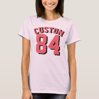 Pale Pink & Coral Adults   Sports Jersey Design T-Shirt