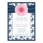 Pale Pink Gerbera Navy Floral Wedding Invitation