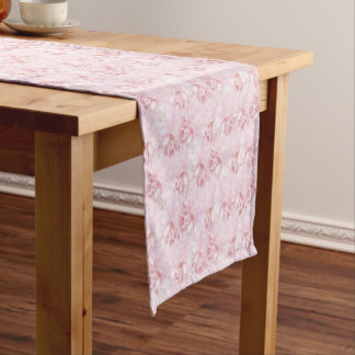 Pale Pink Mums Floral Bouquet chrysanthemums Short Table Runner