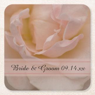 Pale Pink Rose Floral Wedding Square Paper Coaster