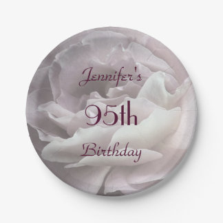 Pale Pink Rose Paper Plates, 95th Birthday Party 7 Inch Paper Plate