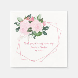 Pale Pink Roses Green Leaves Reception | Paper Napkin