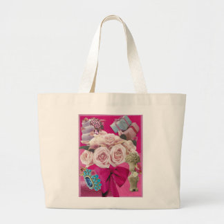 Pale Roses on Hot Pink Large Tote Bag