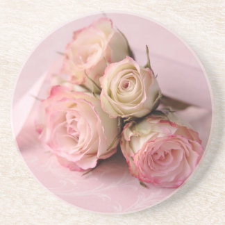 pale roses on pink swirls coaster