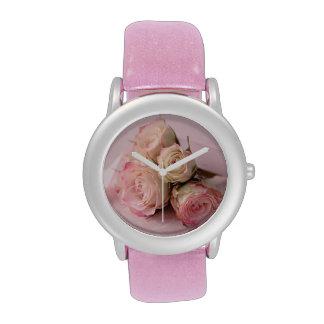 pale roses on pink swirls watch