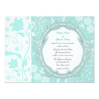 Pale Turquoise and White Floral Wedding Invite