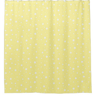 Pale Yellow and White Stars Celestial Sky Shower Curtain