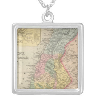 Palestine and Adjacent Countries 2 Silver Plated Necklace