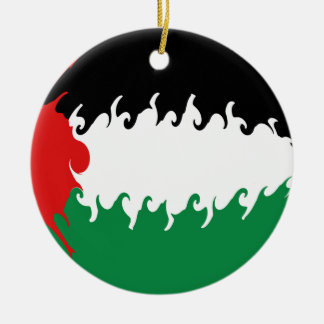 Palestine Gnarly Flag Round Ceramic Decoration