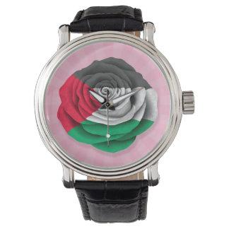 Palestinian Rose Flag on Pink Wristwatches